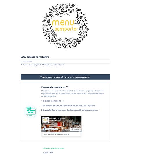 Menu A emporter - Application web
