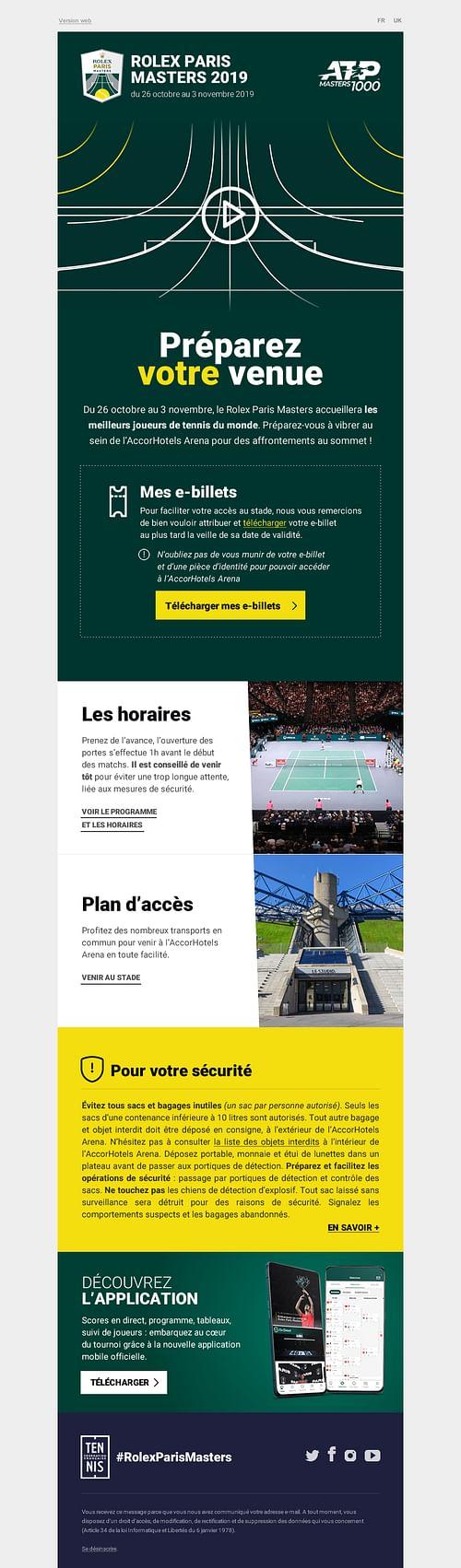 Refonte des emails du Rolex Paris Masters - E-mailing