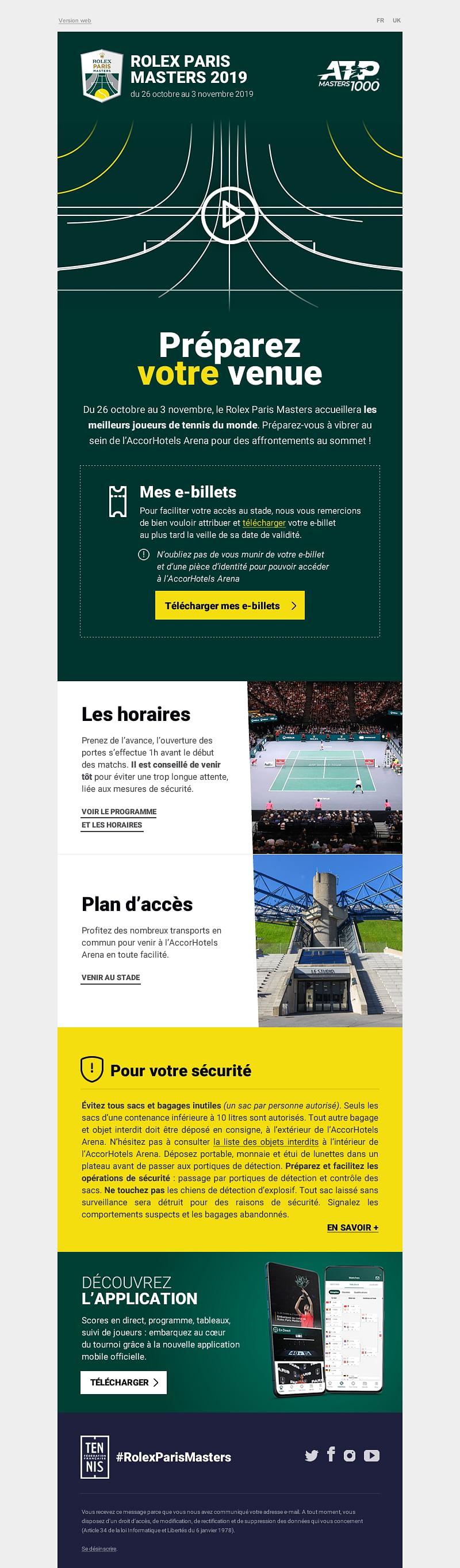 Refonte des emails du Rolex Paris Masters