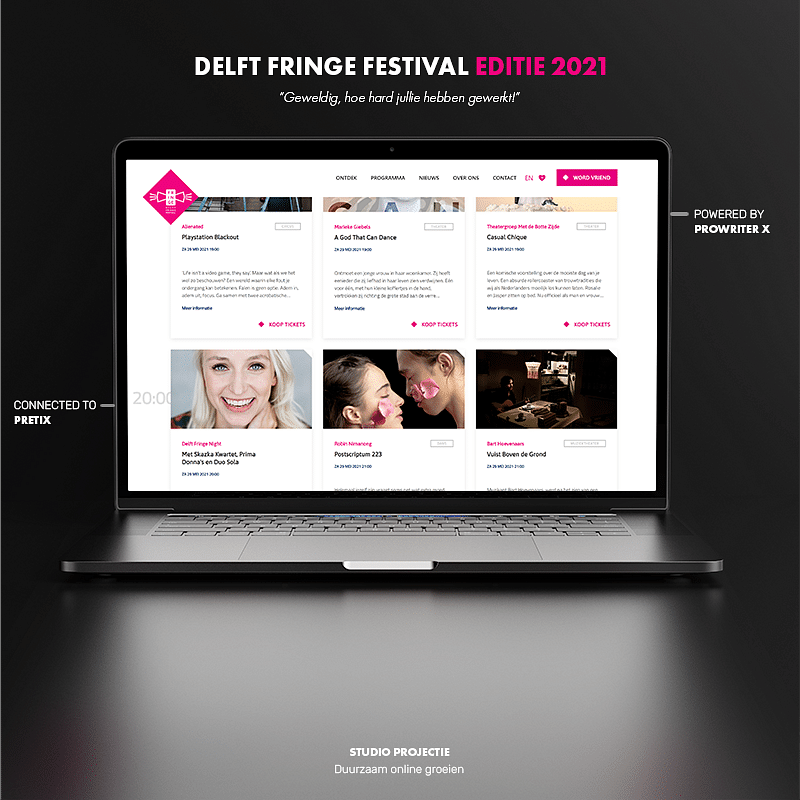 Webdesign & ticket shop Delft Fringe Festival