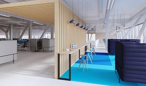 Interior design for Pfizer Belgium: flying office - Branding & Positionering