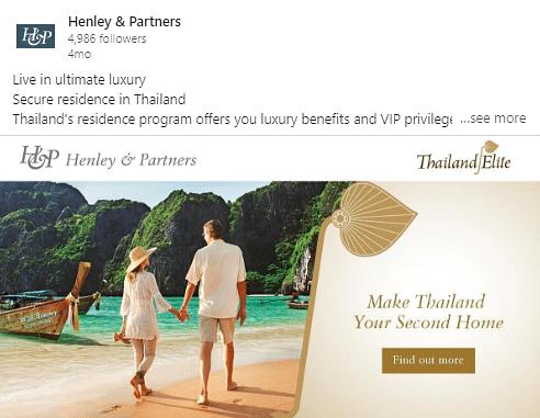 Online Advertisement for Thai Elite Residency - Online Advertising