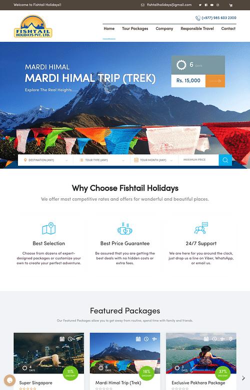 Website Development for Travel Company - Website Creation
