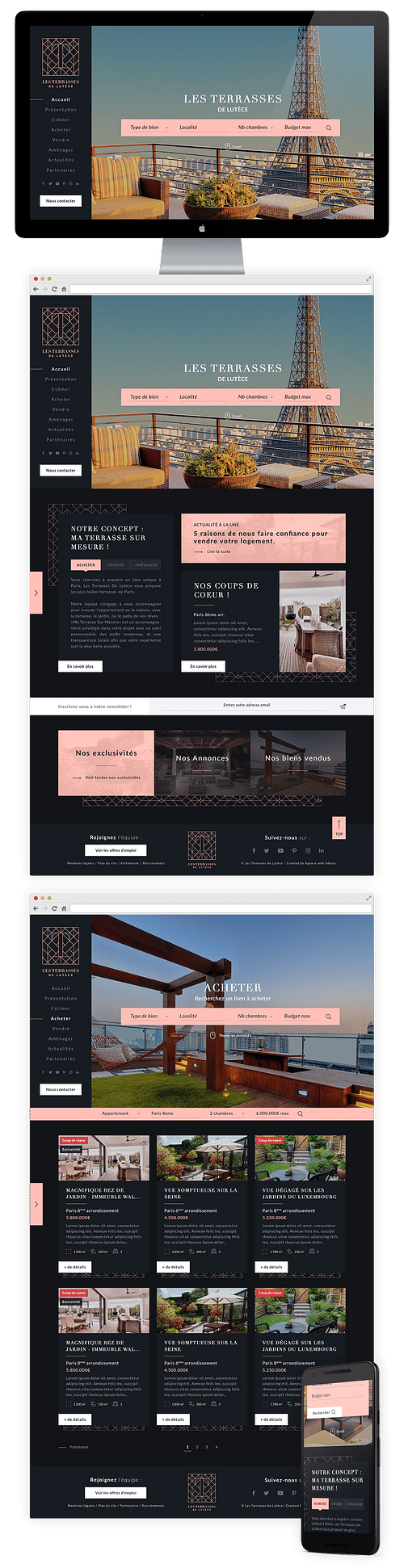 Création site immobilier - Les Terrasses de Lutèce - E-commerce