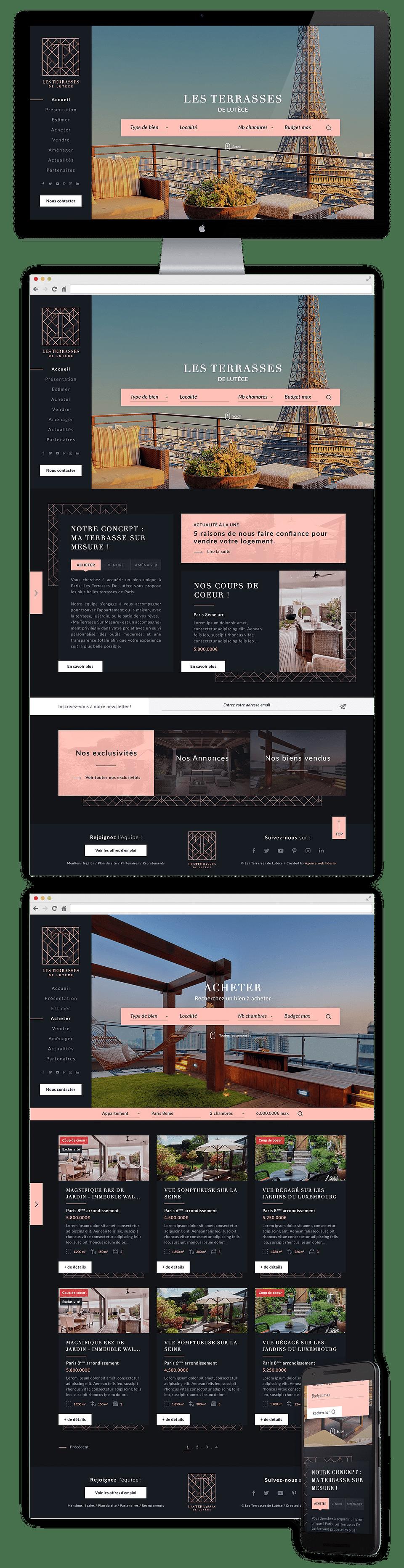 Création site immobilier - Les Terrasses de Lutèce