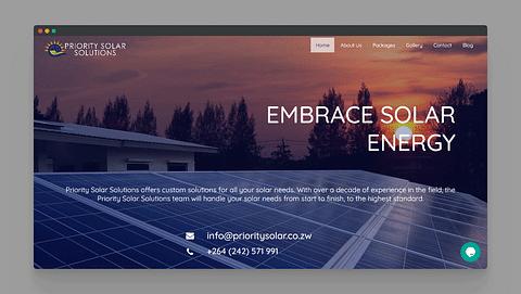 Website Development for Priority Solar Zimbabwe