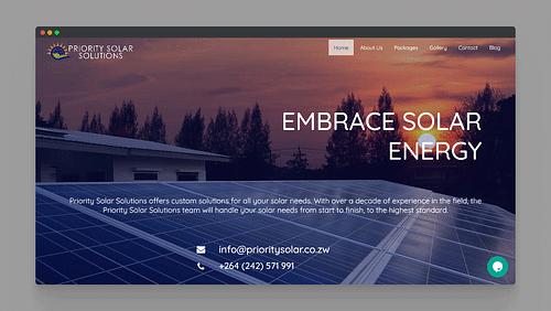 Website Development for Priority Solar Zimbabwe - Website Creation