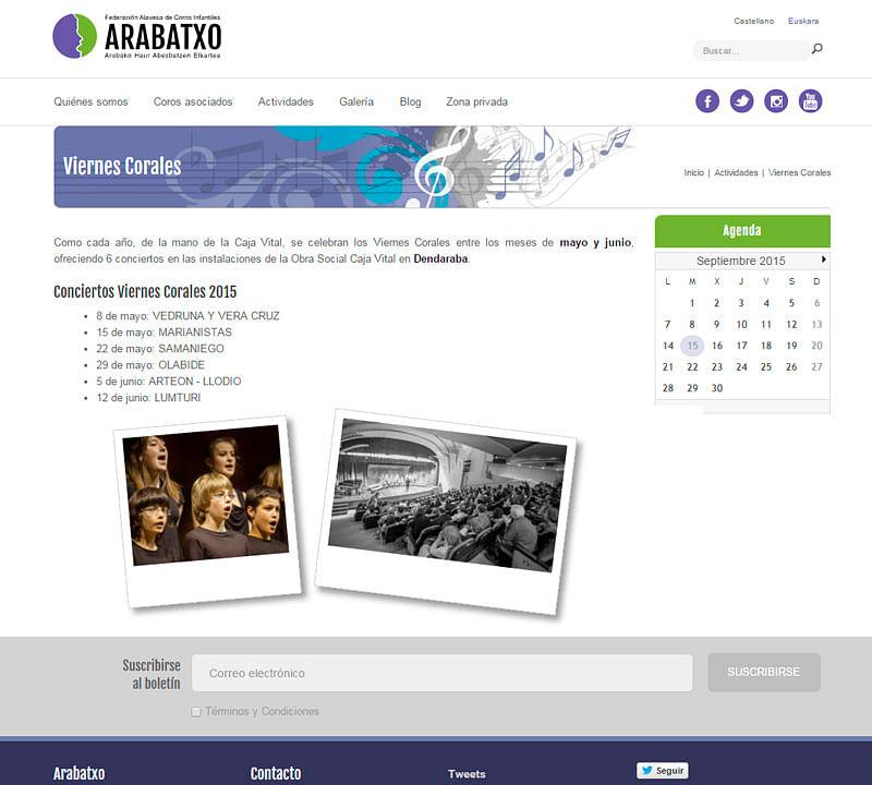 Web de  Federación de Coros Infantiles Arabatxo