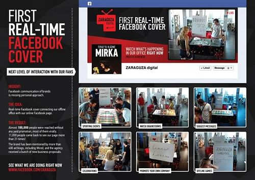 FIRST REAL-TIME FACEBOOK COVER - Publicidad