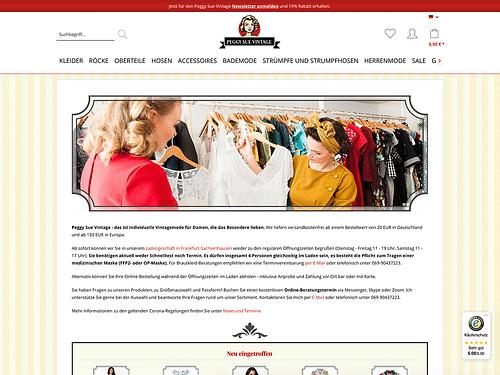 Webseitenentwicklung PeggySueVintage.de - E-Commerce