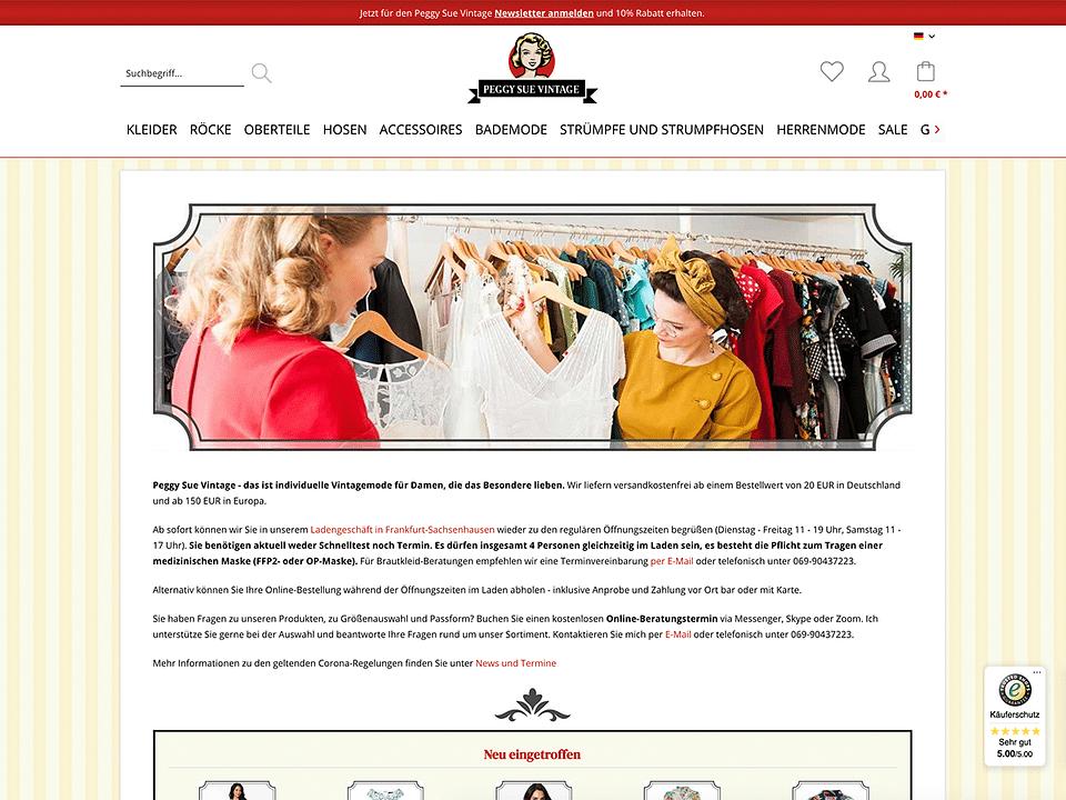 Webseitenentwicklung PeggySueVintage.de