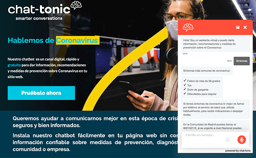Chatbot Coronavirus España - Aplicación Web