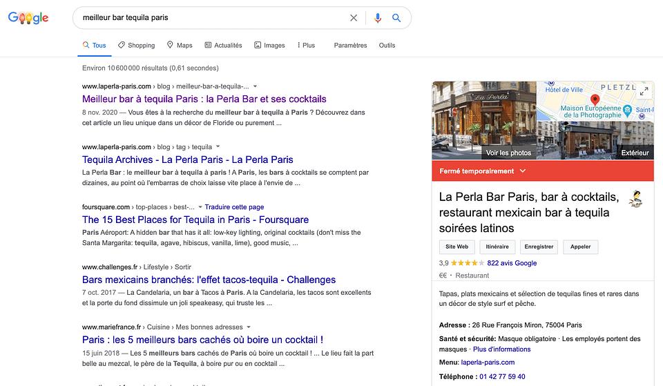 SEO gagnant pour la Perla Bar Paris !