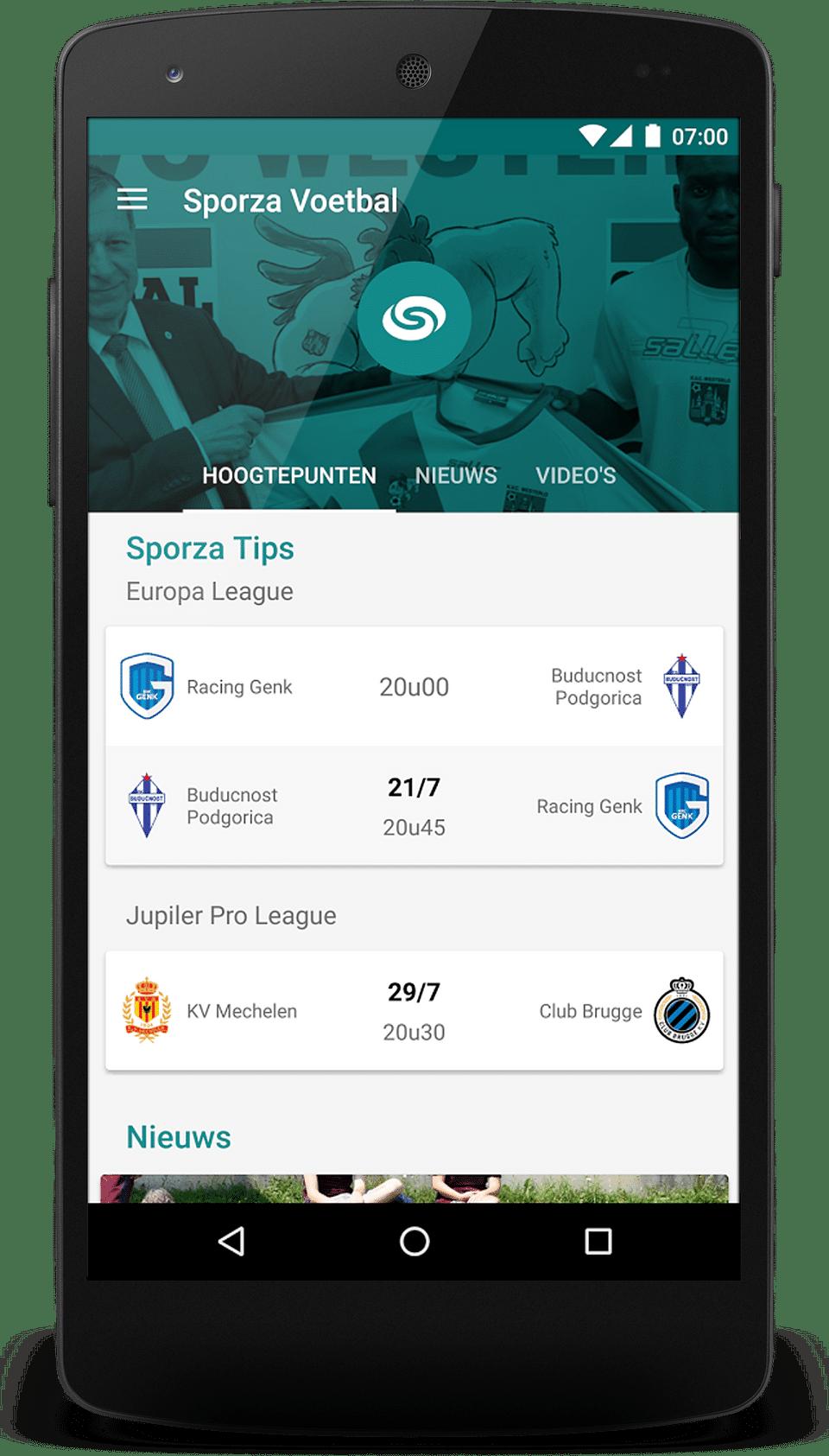 Sporza app voor VRT