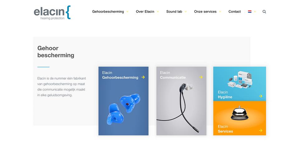 Multi-language WordPress website voor Elacin