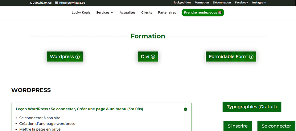 Formation de création de site web