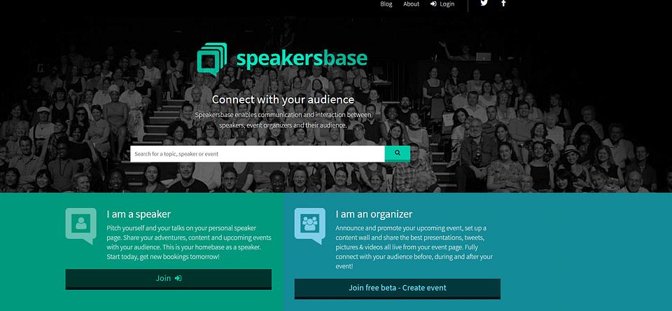 Online platform voor sprekers en eventorganisers