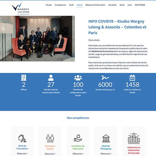 wargny-lelong.notaires - Création de site internet