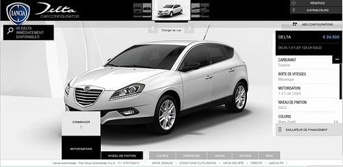 Lancia car configurator - Création de site internet