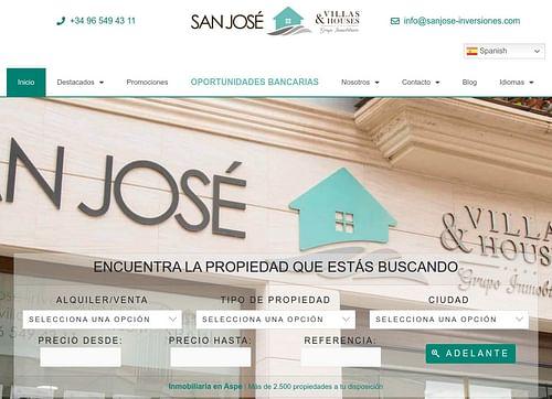 Página web San José Inversiones - Creación de Sitios Web