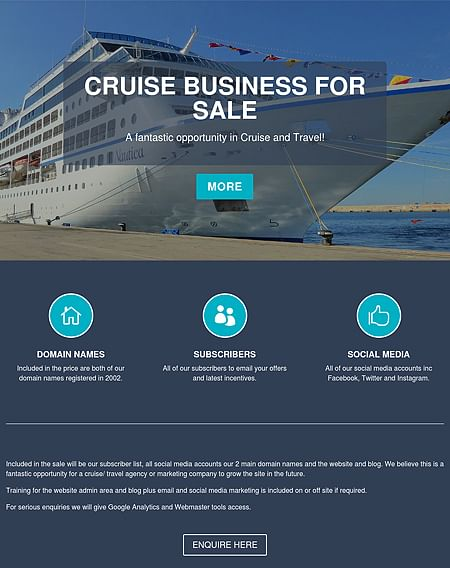Landing Page for About2Cruise - Website Creation