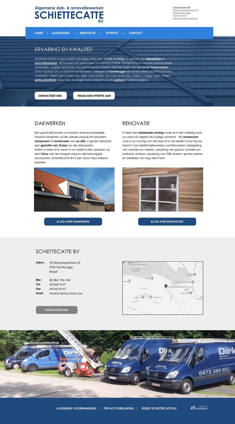 Website for Schiettecatte BV