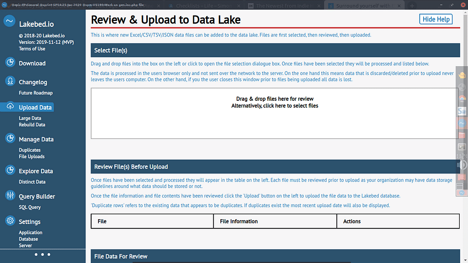 The Lakebed application allows drag & drop of data