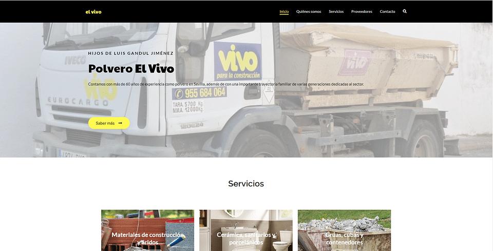 Web corporativa Polvero El vivo