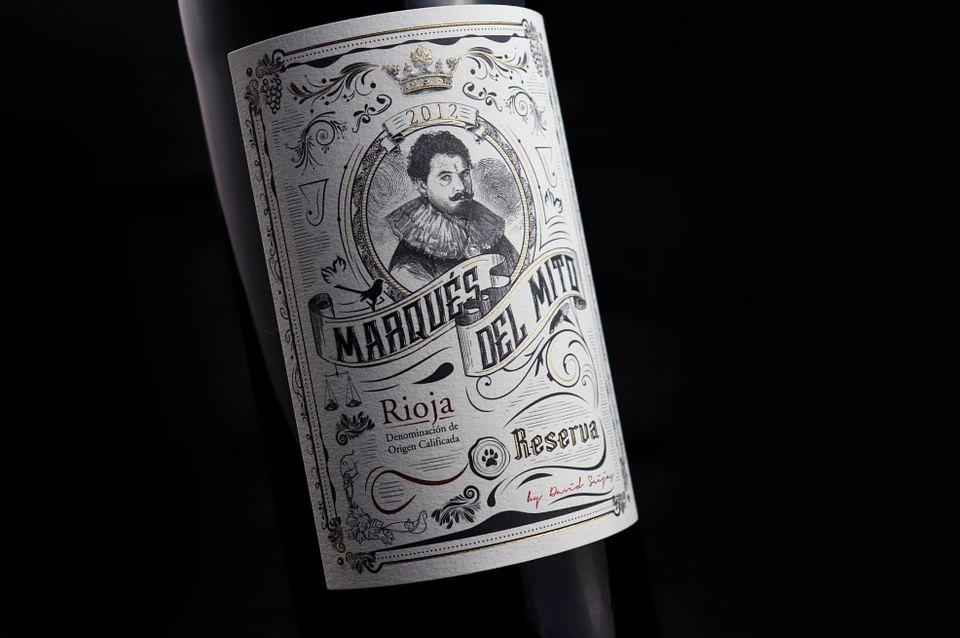DIseño de etiqueta de Vino Marqués del Mito