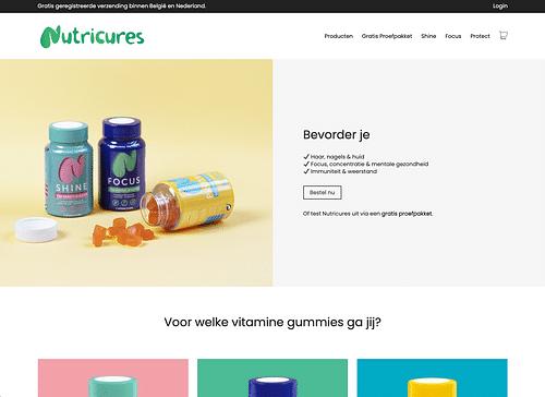 Webshop voor Nutricures - Website Creatie