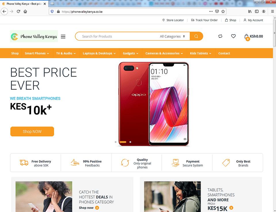 E-commerce website solution for Phone Valley