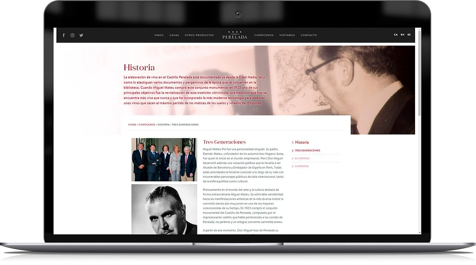 Website para marca elaboradora de vinos y cavas