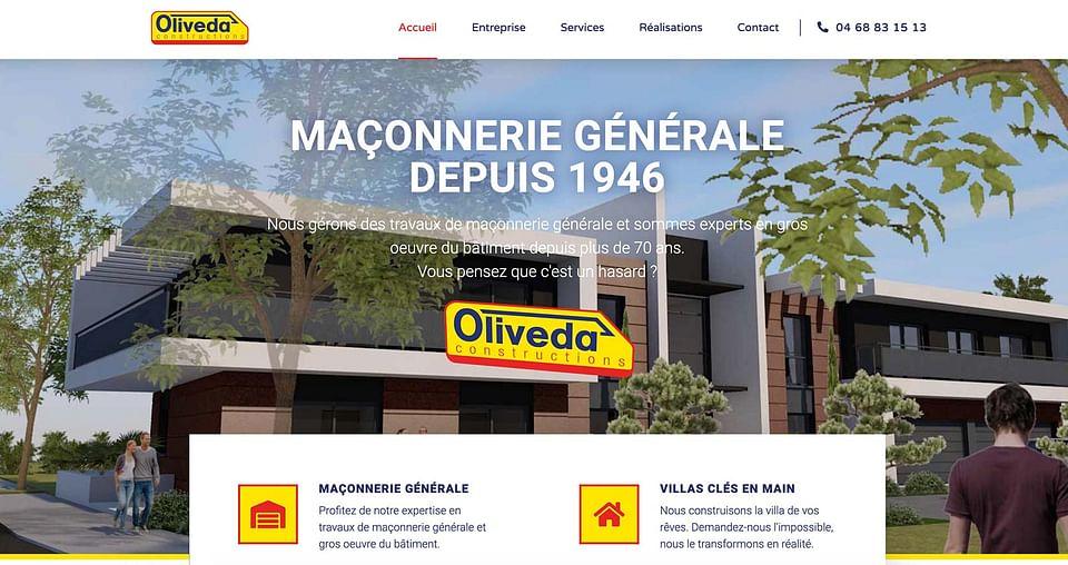 Création de site web Oliveda Constructions