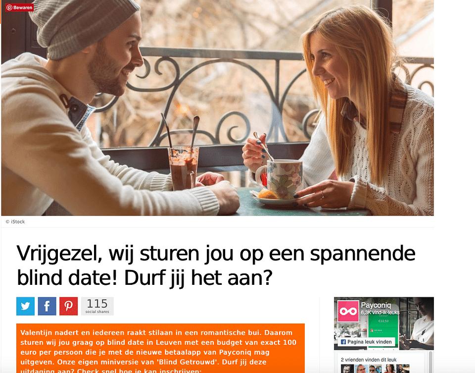 Native advertising campaign Payconiq in Belgium