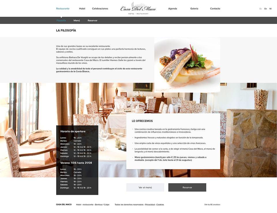 Página Web para restaurante El Maco
