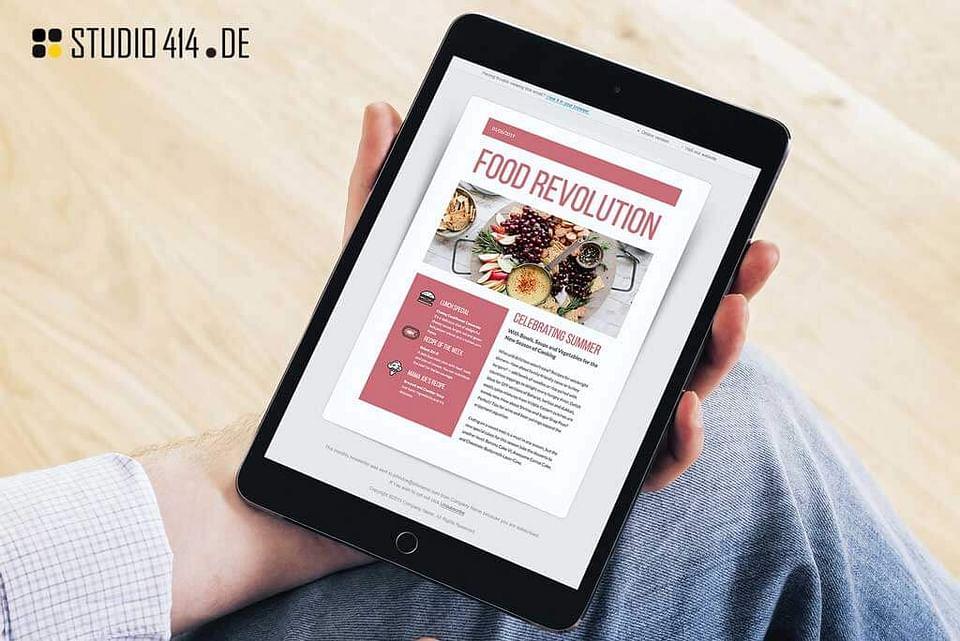 Design  einer Newsletter Vorlage für ein Food Blog