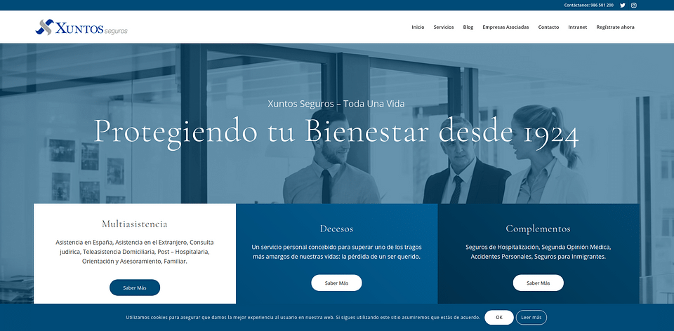 Página web Xuntos Seguros