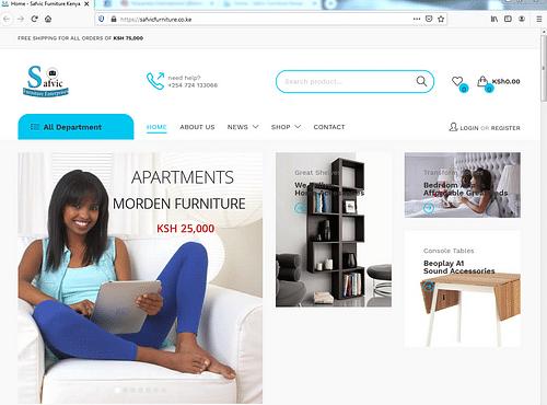 Safvic Furniture website design - Website Creation