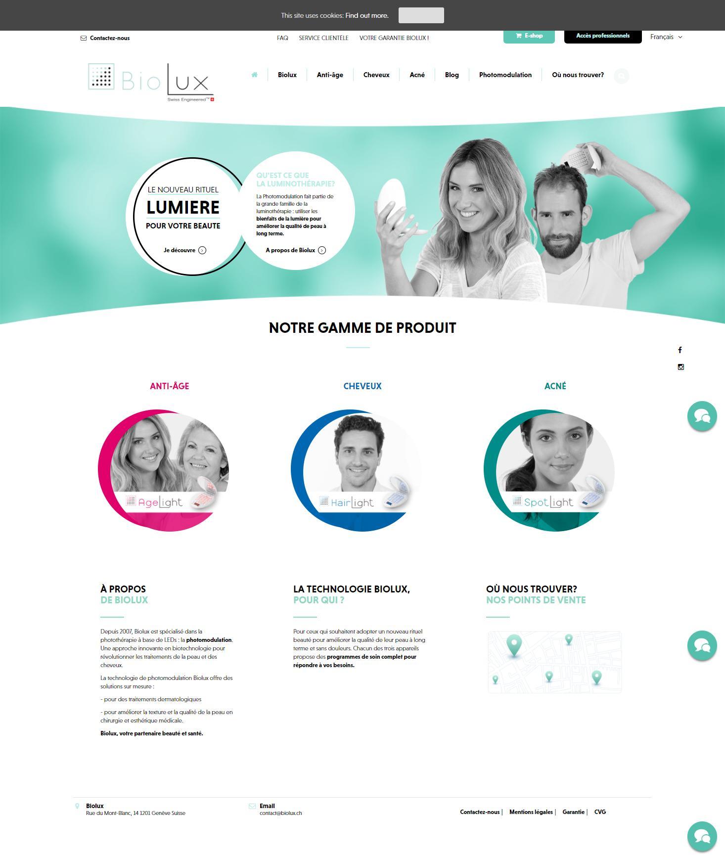 Biolux - Création de site internet