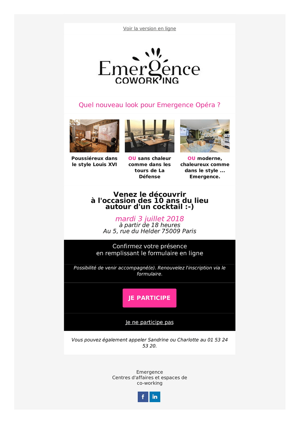 Campagnes email marketing pour Emergence