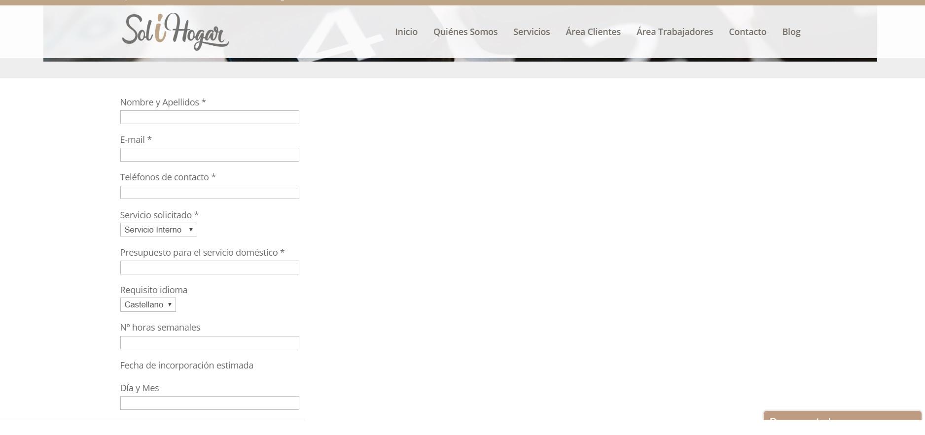 Crear página web Solihogar Servicio Doméstico - SEO