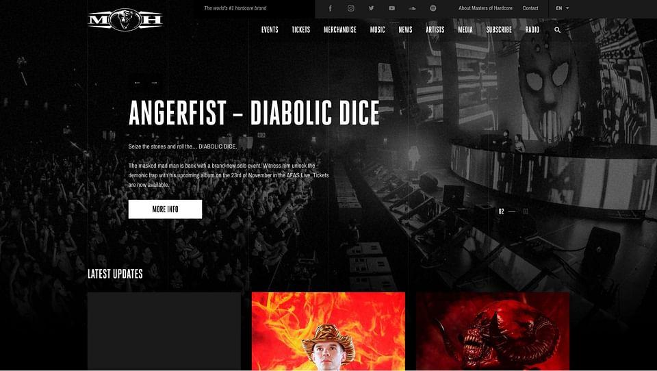 Realisatie website Masters of Hardcore