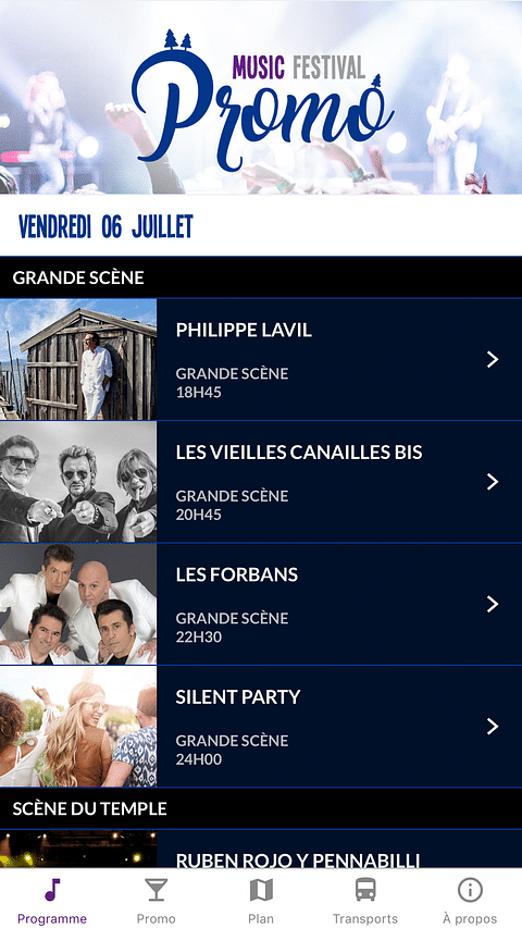 Music Festival Promo - Application mobile