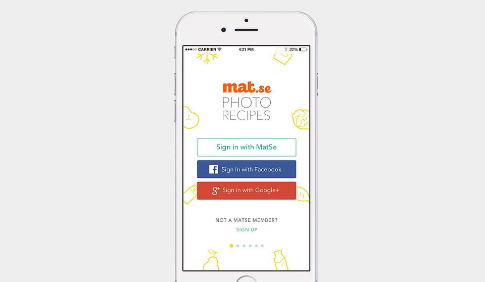 Matse Photo Recipe App Design