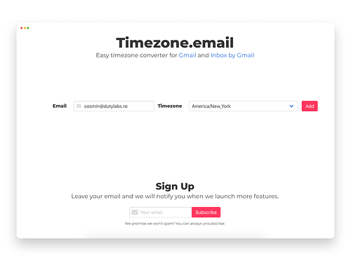 Timezone.email - Web Application