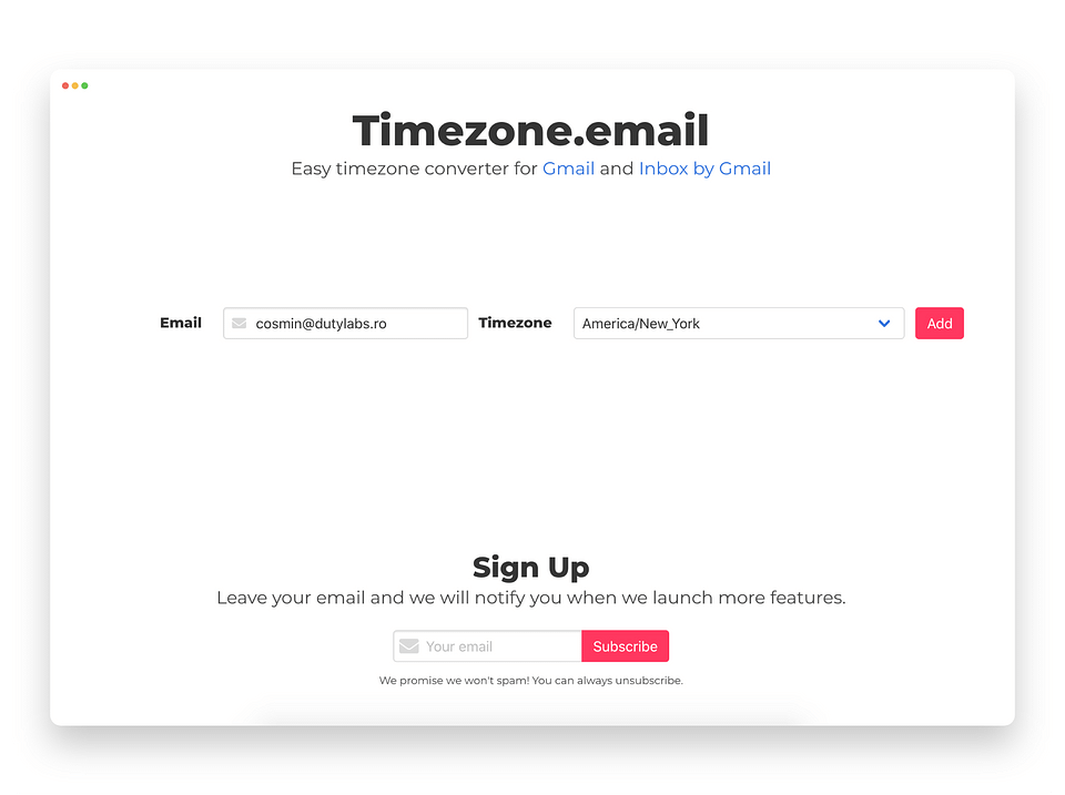 Timezone.email