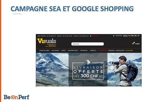 Campagne SEA et Google Shopping - Publicité en ligne