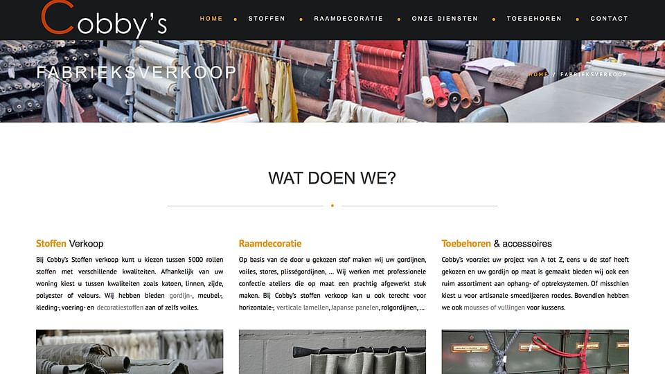 Website voor Outlet Stoffen/gordijnen